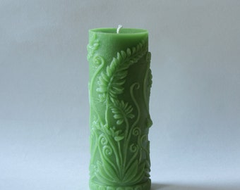 Large Beeswax Candle, Beeswax Pillar, Spring Candle, Fern Candle, Green Candles, Custom Color Pillars