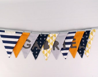 Garland pennants customizable name Gabriel deco gray Navy Blue mustard yellow baby banner baptism gift baby decor nursery