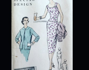 Vintage 50s Fitted Tab Accent Drop Waist Suit Dress Vogue Special Design Sewing Pattern 4600 B34