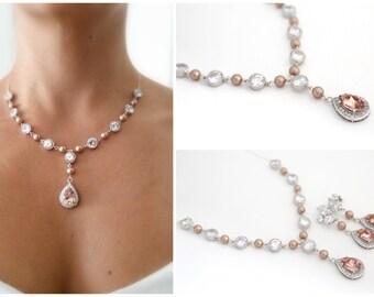 Blush Wedding Necklace, Champagne Bridal Necklace, Wedding Necklace Rose, Swarovski Bridal Necklace, Statement Wedding Necklace Rose Quartz