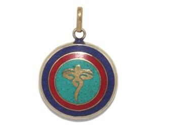 Turquoise Pendant Lapis Pendant coral Pendant Nepal Pendant Om pendant Tibetan Pendant tibet pendant boho pendant gypsy pendant PB42