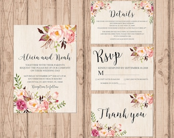 Rustic wedding invitation set PRINTABLE, custom rustic wedding invitation suite, custom invitation, rustic invitation, wedding stationary