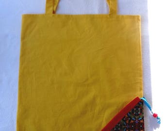 Tote Bag / eco-friendly tote bag / pouch - yellow and multicolored foldable bag