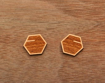 8 pcs Geometric Hexagon Minimalist Symmetrical Wood Charm, Carved, Engraved,Cabochons (WC 476)