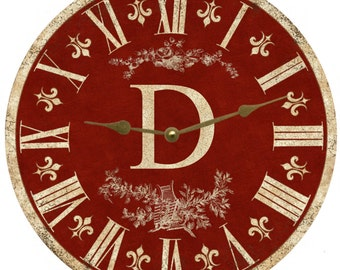 Red Monogram Clock- Personalized Red Clock