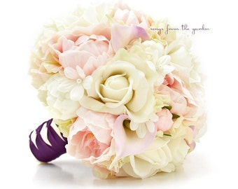 Bridal Bouquet Real Touch Peonies Calla Lilies Hydrangea Ivory Blush Pink Lavender Plum Purple