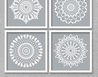 Grey Printable Art, Set of 4 Prints, Bedroom Art, Printable Wall Art, Digital Download Art, Grey Wall Decor, Set of 4 Wall Art, Bathroom Art