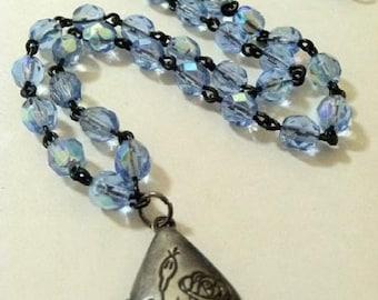 Locket Necklace Floral Teardrop Rosary