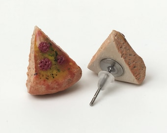 Tiny Pepperoni Pizza Slice Stud Earrings, Polymer Clay, Miniature food