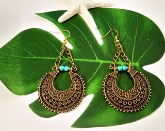 Ethnic Hoops, Tribal Earrings, Crescent Hoops, Turquoise Hoops, Statement Hoops, Semicircle Earrings, Turquoise Earrings, Boho Earrings