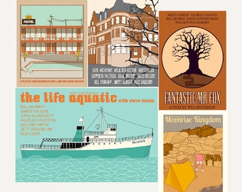 Movie posters Wes Anderson Collection set of FIVE prints in various sizes save 10%