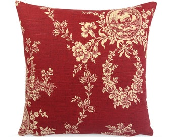 Red French Country Toile Cushion Cover, Custom Euro Square or Lumbar Pillow, Red and Cream Floral Throw Pillow, Waverly Country House Red