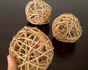 Big Wicker Balls, 3 Large Decorative Balls, Rustic Decor Ideas, Rustic Bowl Filler, Wicker Decoration, Fixer Upper Decor, Rustic Table Decor