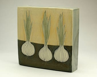 Box Tile- Onion Row-Dimensional Ceramic Wall Piece- Ruchika Madan