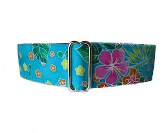 Hawaiian Martingale Collar, 1.5 Inch Martingale Collars, Hawaiian Dog Collar, Hot Pink, Floral, Greyhound Martingale, Greyhound Collar