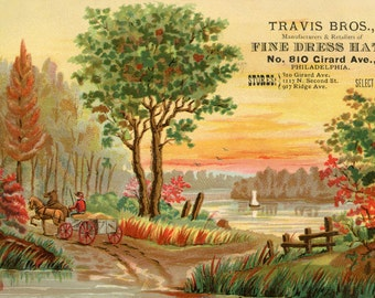 Antique SCENIC Travis Bros Ad PHILADELPHIA Postcard - Fine Dress HATS - Instant Digital download - lake farm idyllic sunset carriage