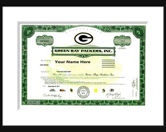 Green Bay Packers - Stock Certificate - Custom - Wisconsin - WI - Poster - Print - Vintage