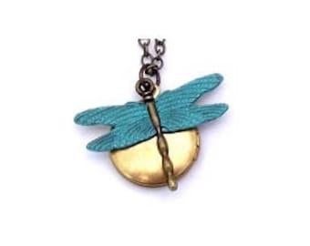 """Dragonfly Locket 18"""" Golden Brass Chain"""