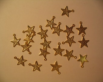 20 Gold Plated Star Charms Jewelry Supplies