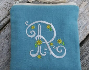 Spring linen monogrammed zipper pouch. Personalized square pouch.