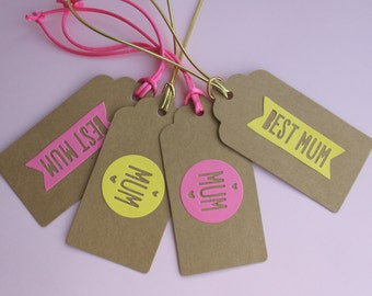 Mothers day gift tags, yellow and pink, pack of 4