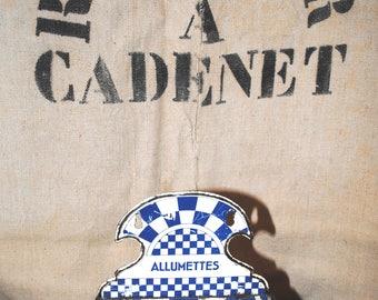 Antique French Tole ALLUMETTES Match BOX LUSTUCRU checks Blue