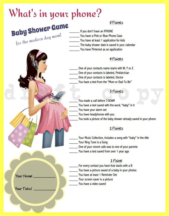 Whats In Your Phone Baby Shower Game Phone Game Yellow