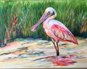 """ROSEATE SPOONBILL **  11"""" x17"""" Print of Original  New Orleans artist Paige DeBell. Art on architectural salvage and Katrina wood."""