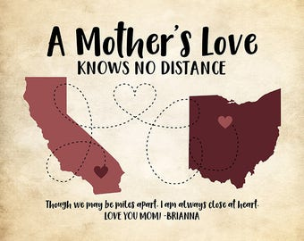 Mother's Day Gift for Moms, Personalized Map Art, Mom Gift, Mom Maps, Gift for Mother Living Far, Moms Day | WF397