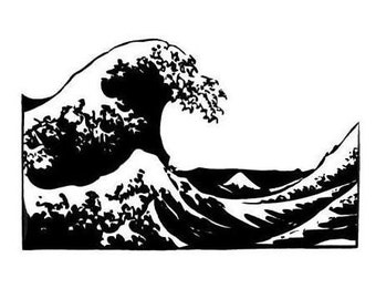 The Great Wave of Kanagawa Japanese UNMOUNTED rubber stamp, Hokusai, Mt Fuji, Sweet Grass Stamps No.12