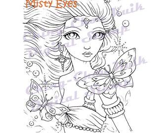 Misty Eyes - Digital Stamp Instant Download / Mermaid Butterfly Fantasy Fairy Girl Art by Ching-Chou Kuik
