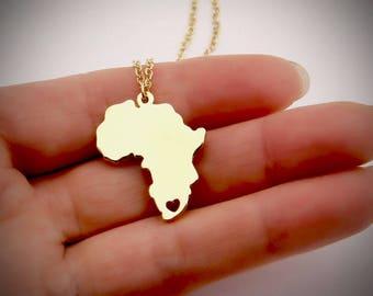 18kt Gold Africa Necklace Africa Map Necklace Golden Heart