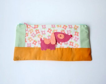 "Zipper Pouch, 5x10.5"" in Green, Pink, Cream and Peach Flowers and Polka dots with Handmade Felt Dog Embellishment, Puppy Pencil Case"