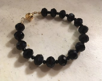 Black Bracelet - Crystal Jewelry - Gold Jewellery - Magnetic Clasp - Luxe - Chic