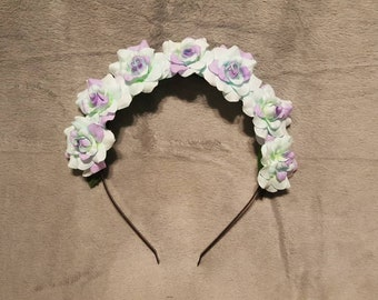 Light Blue and Lilac Flower Headband