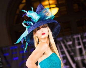 Navy blue hat.Kentucky Derby hat. Royal ascot hat. Derby hat.. Formal hat for races, Royal Ascot, weddings ...designer hat, fashion hat