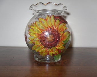 Sunflower Candle Holder Votive Glass