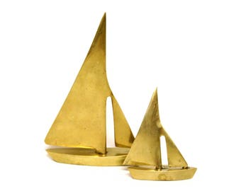 Set of Two Brass Sailboat Figurines in Different Sizes