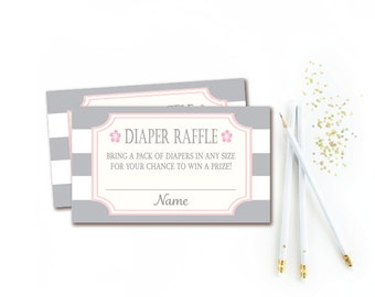 Gray and Pink Diaper Raffle Tickets - Baby Shower Games - Stripe Diaper Raffle Insert - INSTANT DOWNLOAD