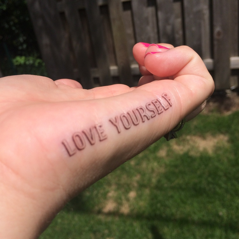 Love yourself tattoo finger tattoo temporary tattoo fake for Temporary finger tattoos