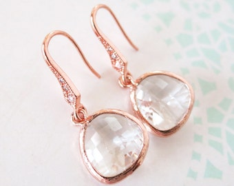 Rose Gold Round Glass drop Earrings - gifts for her, earrings, bridal gifts, pink rose gold weddings, bridesmaid earrings jewelry