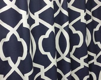 "Two 50"" wide custom made curtain panels drapes, Morrow large print geometric Navy blue navy white"