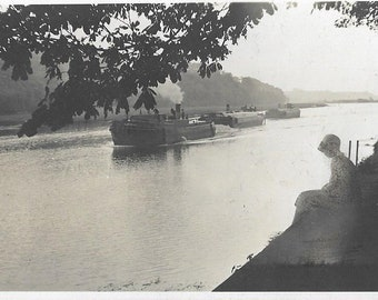 Vintage 1930s Black and White Photograph - Young Girl Watching the Steam Boats