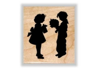 SWEETHEARTS SILHOUETTE lg. mounted rubber stamp, Valentine, Victorian Valentine's, love, Sweet Grass Stamps No.3