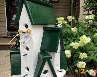 Beautifully Handcrafted XTRA Large Birdhouse Condo Outdoor Bird House! 360 Degree Views!!!