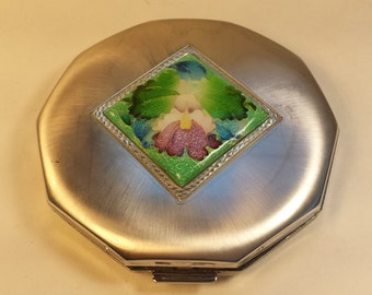 Silver Powder Compact With Mirror, Floral Purse Compact,