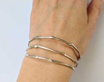 Sterling silver branch bracelet, recyled silver twig bangle, handmade bracelet. Tree jewelry.