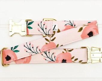 Pink Floral Dog Collar, Female Dog Collar, Pink Flower, Coral Pet Collar, Girl Dog Collar, Dog Lover Gift, Pet, Girly, Spring, Light Pink