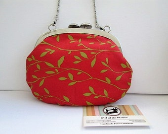 Print Clutch Bag, Evening Bag, Make-up Bag with Metal Clasp Fastener and chain