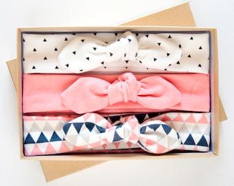Baby Knot Headband Set of Three Organic Cotton - Triangle Print Jersey Headband - Coral Navy Black - Baby Girl Headwrap - Toddler Turban